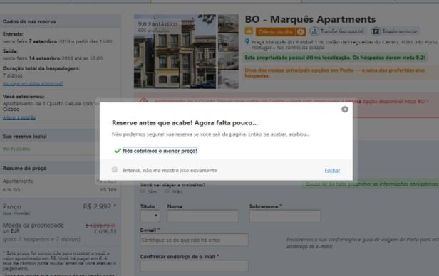 Exemplo de mensagem quando o site detecta intenção de abandono