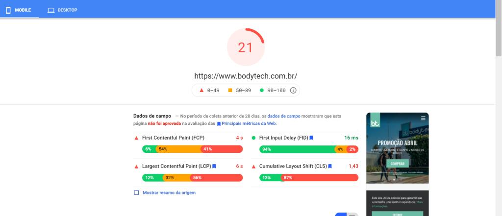 Dados de Campo - PageSpeed